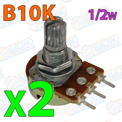 2x Potenciometro B10K 10K ohm lineal 0,5w 15mm Linear Potentiometer Shaft alpha