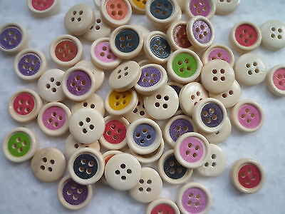 20 round wood/wooden buttons 15mm 4 holes assorted colours