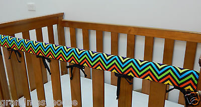 Baby Cot Rail Cover Crib Teething Pad - Rainbow Chevron Black *****REDUCED****