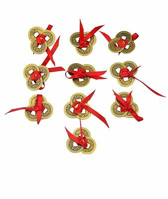 10PCS Chinese Feng Shui Three I-Ching Coin+ one Red Envelope  Y1113