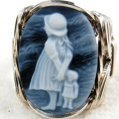 Girl Black Agate Oval Stone Cameo Ring .925 Sterling Jewelry Any Size 1.58 CT