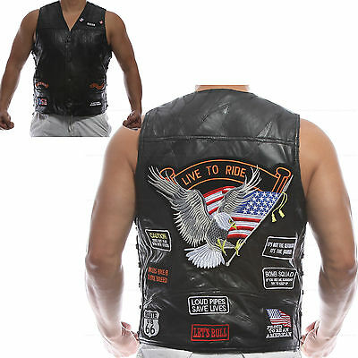 Men's Genuine Leather Motorcycle Vest Classic Embroidery w/14 Sheepskin Patches