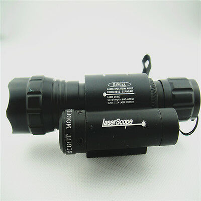 Hunting CREE Red LED Tactical Flashlight Torch & Red Rifle/Gun Laser Dot Sight