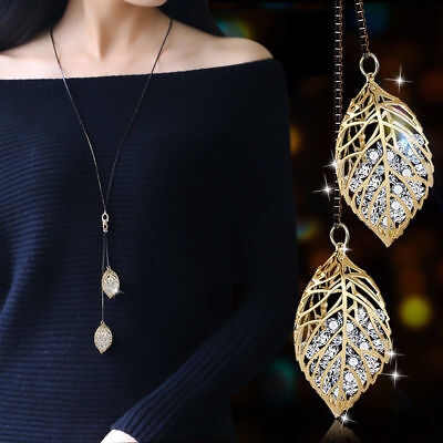 Classic Retro Fantasy Hollow Heart Crystal Long Necklace Sweater Chain Jewelry