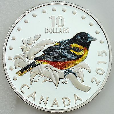 2015 $10 Colorful Songbirds of Canada: The Baltimore Oriole, Pure Silver Proof