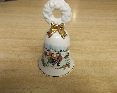 1986 Avon White Porcelain Christmas Bell, Children Skating
