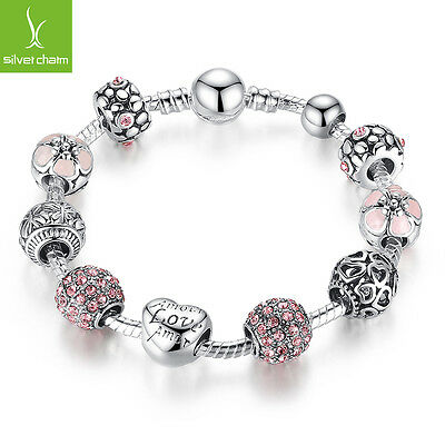 Hot Sales 925 Silver Charms Bangles With Pink Clear Crystal Fit Women Christmas