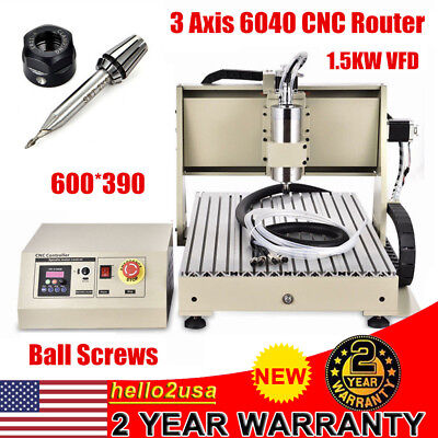 6040 3AXIS 1.5KW CNC ROUTER ENGRAVER Dril Engraving Carving Machine Ball Screws