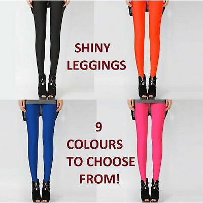 Womens Shiny Neon Leggings Fluro Stretch Metallic Pants Black Pink Dance Yoga