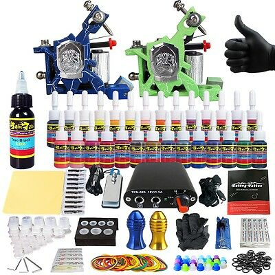 Pro complete kit de tatuaje agujas Machine Power Supply tintas consejos clip