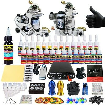 Complete kit de tatuaje agujas Machine Power Supply tintas consejos clip