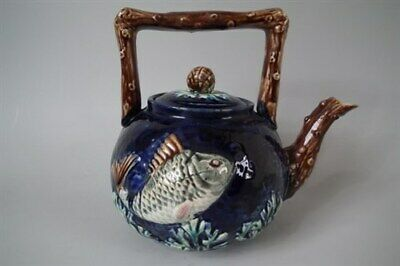 Majolica fish teapot/kettle with coral handle
