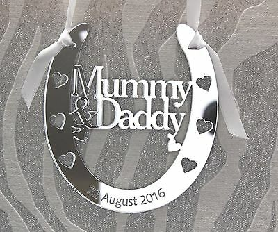 Personalised Mummy and Daddy Goodluck Bridal Wedding Horseshoe Anniversary Gift
