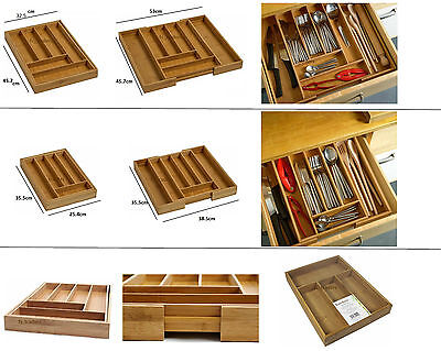 Expandable Bamboo Wood Wooden Cutlery Tray Holder Tidy Drawer Organiser Storage