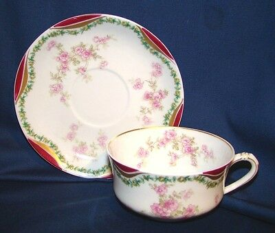 Haviland Limoges Cup & Saucer Pink Roses & Green Swags w/ Red