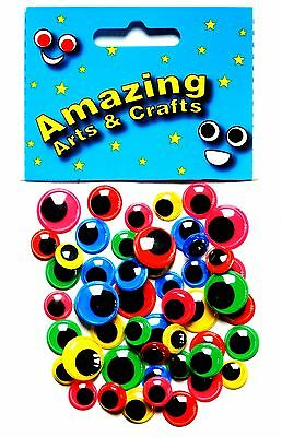 Eyes Self Adhesive Wiggle Wiggly Googly Sticky Colour Backgrounds asst sizes 50