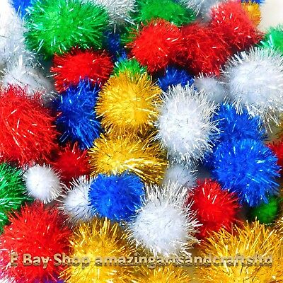 Glitter Pom Poms Crafts Pack Size 30 Assorted Colours And Sizes Kids Crafts
