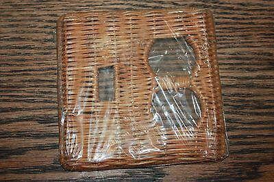 NOS Vintage New Wicker Rattan Toggle Switch and outlet Plate beach Retro 60's