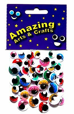 Eyes Self Adhesive Wiggle Wiggly Googly Sticky with Eyelashes 50 asst size & col