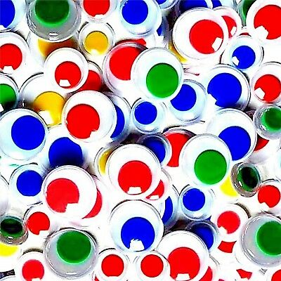 Wiggle Wiggly Googly Eyes Coloured Centers 50 Sizes 10mm 12mm 15mm Craft Crafts