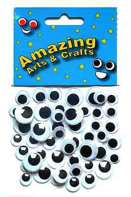 Wiggle Googly Wiggly Google Eyes Black 50 pieces assorted sizes