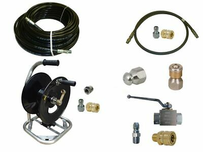 """Sewer Jetter Cleaner Kit - Ball Valve, 100' x 1/4"""" Hose, Reel and Nozzles"""