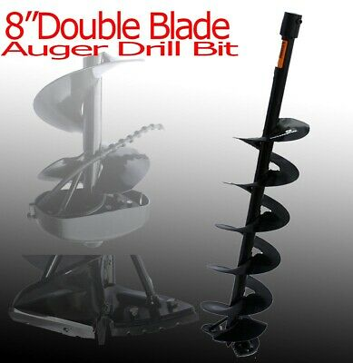 """New 8"""" x3ft depth Double Blade Post Hole Fence Hole Digger Machine Auger Bit"""