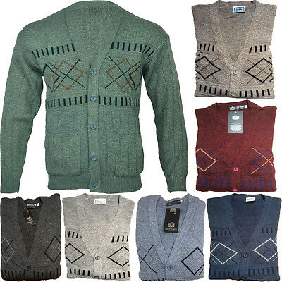 New Men Classic Button Front Cardigan Granddad With Two Front Pockets