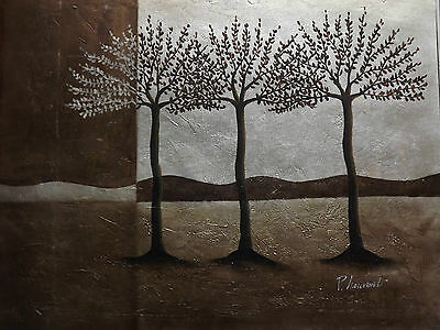 silver gold trees oil painting canvas modern abstract forest landscape original