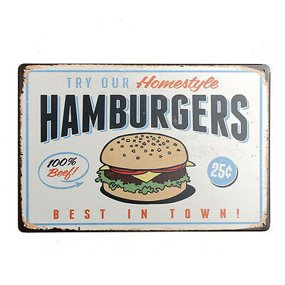 Hamburgers Metal Plaque Drawing Retro Painting Bar Pub Club Cafe Poster Tin Sign
