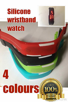 New Arrival Sports Rubber Red LED Waterproof Sport Digital Wristwatch. 4 colour
