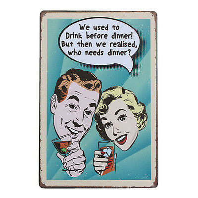 Drink Retro Metal Plaque Painting Drawing Pub Cafe Poster Tin Sign Wall Decor