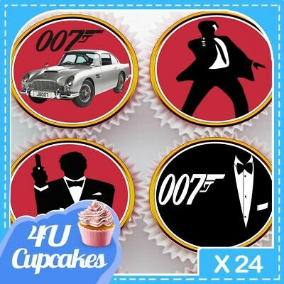 24 X James Bond Silhouette Mixed - Edible Cupcake Toppers Rice Paper Cc80050