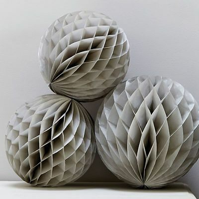 Grey Honeycomb Balls x 3 - Christmas / Wedding Decoration / Christening / Party