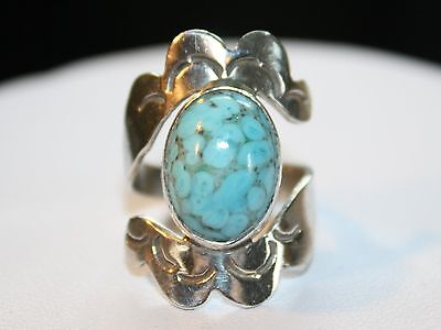 Taxco Eagle 3 Mark Sterling Silver 925 Blue Hubbell Glass Ring Size 6 Signed Pci