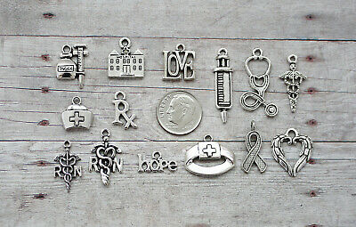 Jewelry Crafts //Cross,Religious 15pc Crosses Charm Set Lot Collection //Silver