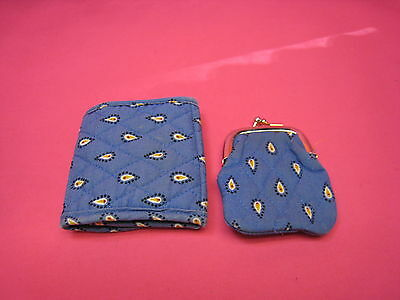 Vintage Vera Bradley Tri-Fold Wallet And Matching Coin Purse See Pictures