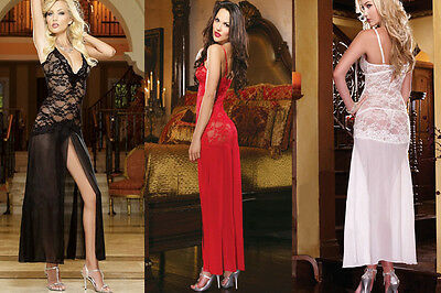 Women Sexy Lingerie Long Lace Transparent Dress Sleepwear Nightgown Size 6-14