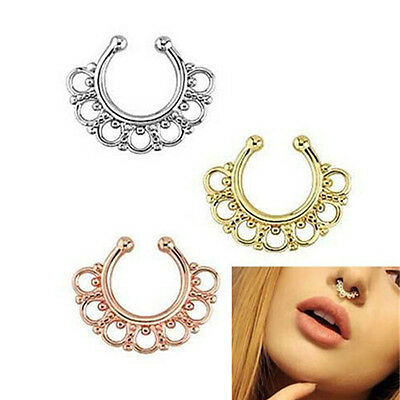Petal Stainless Fake Septum Nose Ring Hoop Open Clip Body Piercing Jewelry Fancy