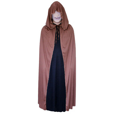 Brown Cloak with Large Hood ~ HALLOWEEN WIZARD MEDIEVAL RENAISSANCE COSTUME CAPE