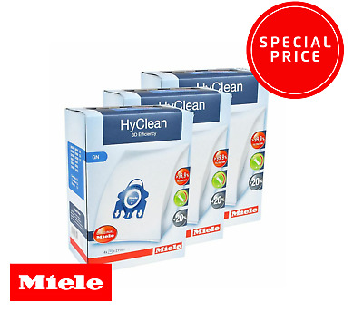 MIELE Genuine GN HyClean 3D Efficiency Vacuum Bags  x 3 BOXES