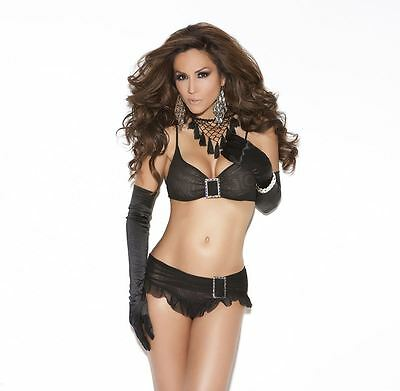 Elegant Moments Bra Set W/Rhinestone Buckle Black
