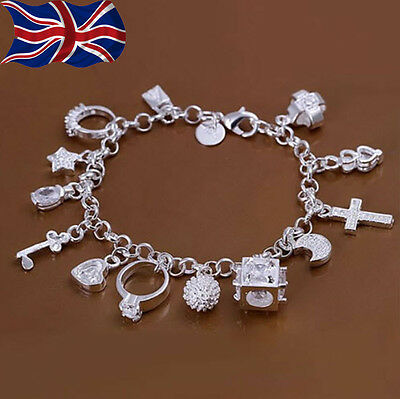 "925 Sterling Silver Charm Bracelet Crystal Charms Chain Link 8"" Gift Bag UK"