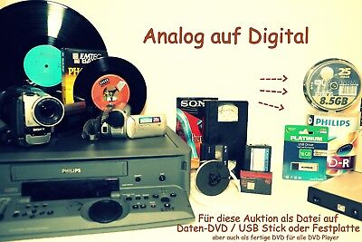 10 x VHS , Video8, Hi8, MiniDV als Daten-DVD digitalisieren in mpeg2