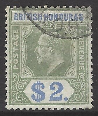 BRITISH HONDURAS, 1907 $2 grey-green & blue, VF used, SG#92