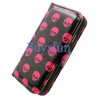 Bocov Bcov Red Skull Black Leather Wallet Cover Case For iPhone 6S