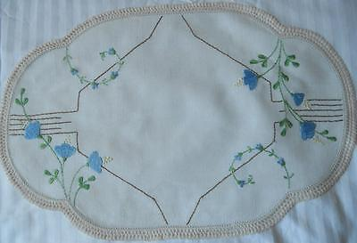 Vintage Embroidered Linen Table Centre Doily Blue Flowers Crochet Lace Edging