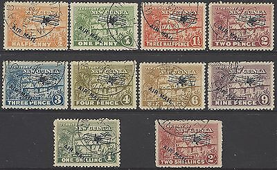 NEW GUINEA, 1929 airmail/air opt set to 2/-, F/VF used, SG#137-146