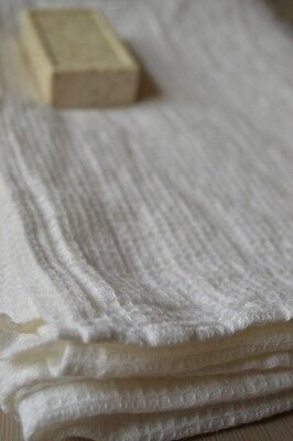 "SOFT 100% Pure LINEN Flax White Waffle Bath TOWEL 28"" x 51"" Made in Europe NEW"