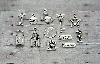 10pc Mickey Mouse Silver Charm Pendant Lot Set Collection /Jewelry, Crafts/Key